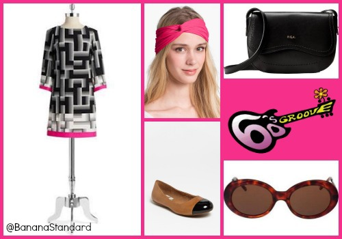 Find all of these items at the following links: Eliza J Dress, SoftWalk Flats, Lauren Ralph Lauren Crossbody Bag, L. Erickson Interlock Turban Headband, and American Apparel Sunglasses