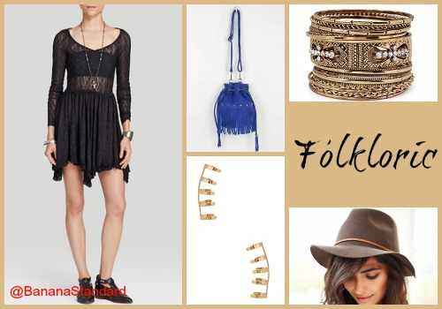 All of these items can be found at the following links: Free People Dress, Urban Outfitters Bucket Bag, Urban Outfitters Hat, Forever 21 Ear Cuffs, and Forever 21 Bangles