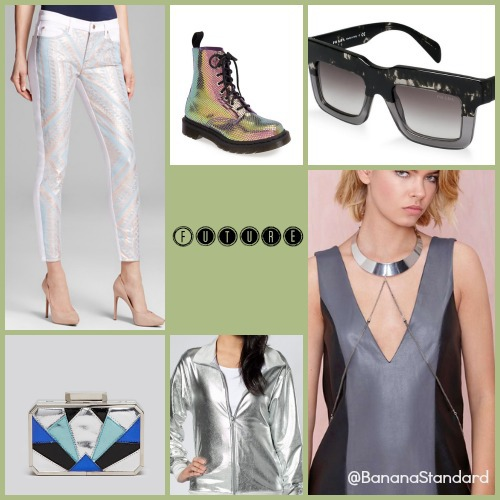 Find all of these items at the following links: 7 For All Mankind Jeans, Badgley Mischka Clutch, Prada Sunglasses, American Apparel Windbreaker, Dr. Martens Boots, and Nasty Gal Body Chain