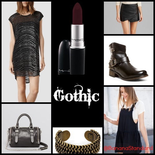 Find all of these items at the following links: AllSaints Dress, Ash Crossbody, Dannijo Pico Cuff, Brandy Melville, and MAC Lipstick