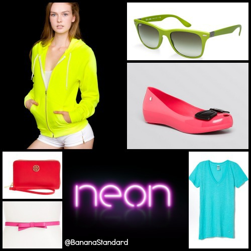 Find all of these items at the following links: Melissa + Karl Lagerfeld Flats, American Apparel Hoodie, Ray-Ban Sunglasses, Tory Burch Wristlet, Victoria's Secret PINK Tee, and Kate Spade Belt