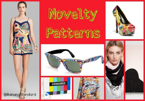 """Find all of these items at the following links: Steve Madden Pumps, Ray-Ban sunnies, Nordstrom Clutch, Alice + Trixie Romper, Kate Spade """"Grand Piano"""" Scarf, and Markus Lupfet Sweatshirt"""