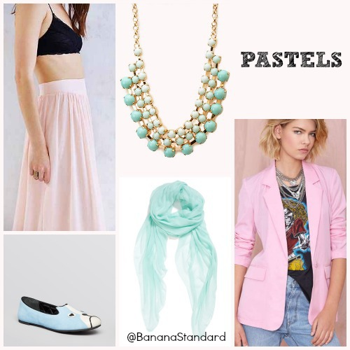 Find all of these items at the following links: Nasty Gal Blazer, Forever 21 Necklace, Urban Outfitters Maxi Skirt, Marc by Marc Jacobs Flats, Nordstrom Woven Scarf, and Free People Faux Leather Skort