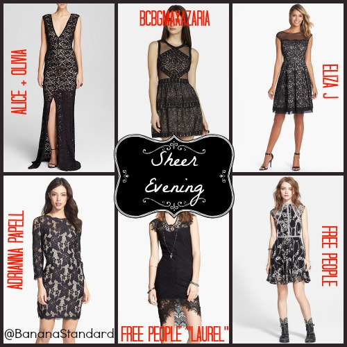 """Find all of these items at the following links: Adrianna Papell Dress, Eliza J Dress, Free People Dress, Free People """"Laurel"""" Dress, BCBGMaxazaria Dress, and Alice + Olivia Dress"""