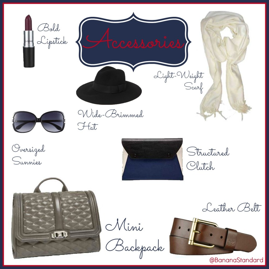 "Find all of these items at the following links:  MAC lipstick, C by Bloomingdales solid cashmere scarf, Brixton ""Piper"" felt hat, Lauren Ralph Lauren leather belt, BCBG ""Sophie"" envelope clutch, Rebecca Minkoff ""Quilted Love"" backpack, and Marc by Marc Jacobs Ombré sunglasses"