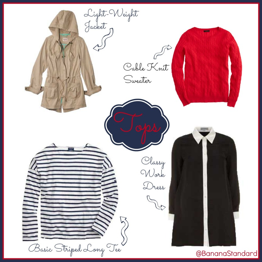 Find all of these items at the following links: Mossimo Anorak Jacket, Saint James for J. Crew slouchy tee, Cynthia Steffe Ponte shirtdress, and J. Crew Cambridge cable crew neck sweater