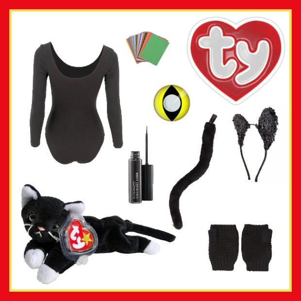Find all of these items at the following links: American Apparel bodysuit, Forever 21 sequin cat ears, Party City oversized cat tail, YouKnowIt contacts, MAC liquid eyeliner, and Forever 21 fingerless gloves