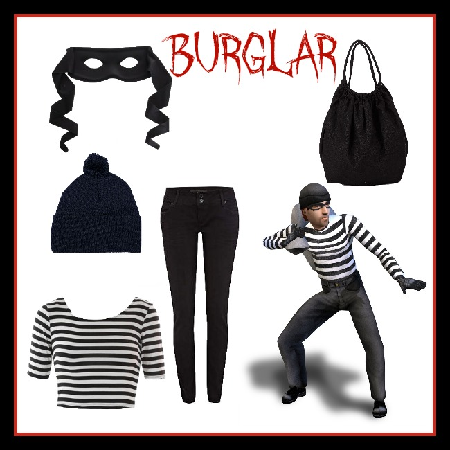 Find all of these items at the following links: American Apparel crop top, American Apparel bag, Articles of Society skinny jeans, American Apparel beanie, and Party City mask