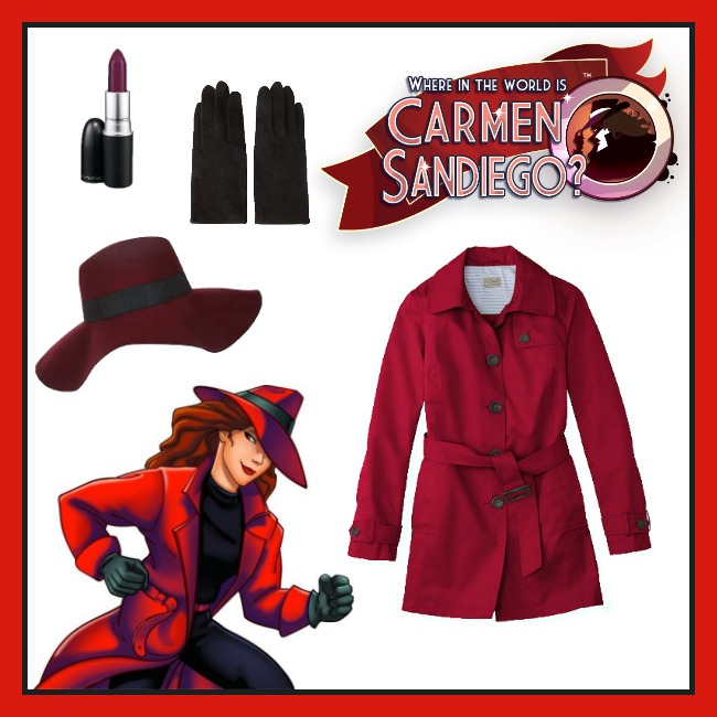 Find all of these items at the following links: L.L. Bean trench coat, River Island fedora, Forever 21 gloves, and MAC lipstick