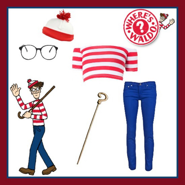 Find all of these items at the following links: American Apparel crop top, American Apparel glasses, Village Hat Shop beanie, and Spirit Halloween cane