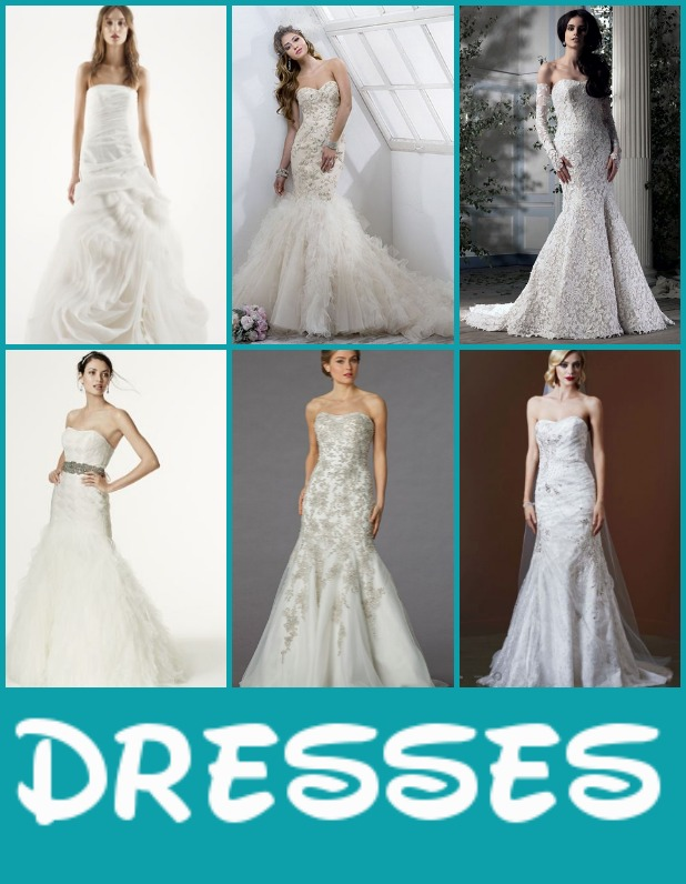 Clockwise from top left: Danielle Caprese sweetheart gown, Maggie Sottero beaded gown, Ian Stuart lace gown, David's Bridal metallic lace gown, David's Bridal organza fit and flare gown, and David's Bridal basket woven bodice gown