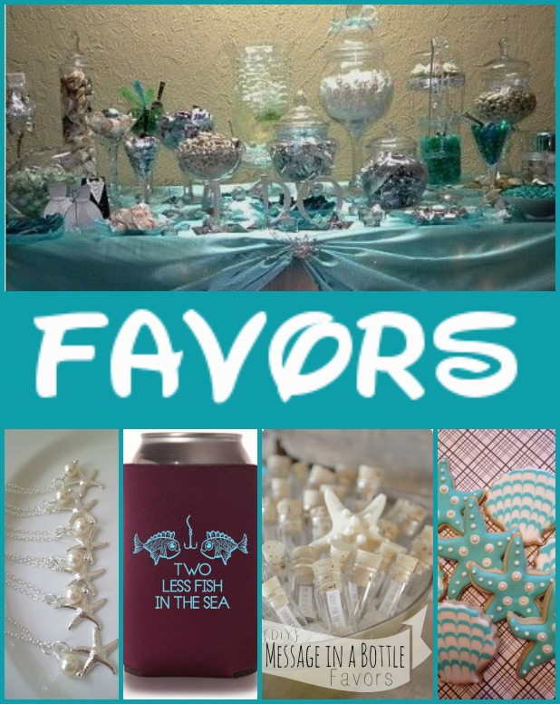 Top: candy buffet Bottom from left: Set of 6 starfish necklaces, koozies, messages in bottles, and cookies