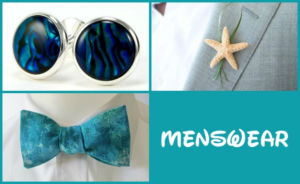 Clockwise from top left: cufflinks, boutonniere, and bow tie