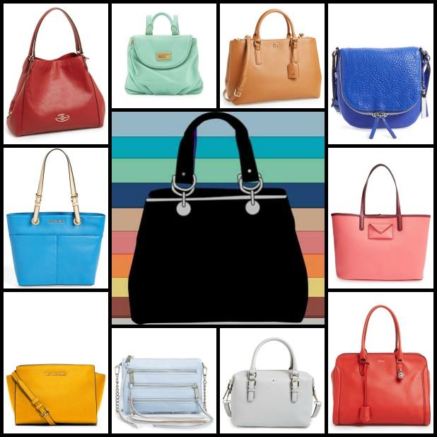 "Find all of these items at the following links. Clockwise from top left: Coach ""Edie"" shoulder bag, MBMJ ""Mariska"" backpack, Tory Burch ""Robinson"" tote, Vince Camuto ""Baily"" crossbody, MICHAEL Michael Kors ""Jet Set Pocket"" tote, MBMJ ""Metropolitote 48"" tote, MICHAEL Michael Kors ""Selma"" crossbody, Rebecca Minkoff ""Mini 5 Zip"" crossbody, Kate Spade New York ""Cobble Hill"" satchel, and Alexander McQueen ""Padlock"" duffel"