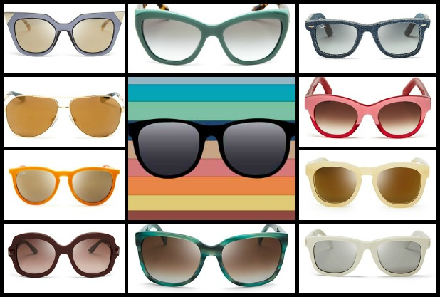 "Find all of these items at the following links. Clockwise from top left: Fendi Mirrored Geometric Sunglasses, Prada ""Opal"" sunglasses, Ray-Ban blue gradient sunglasses, Wildfox ""Monroe"" cat eye sunglasses, Ray-Ban ""Velvet Keyhole"" sunglasses, D&G ""Catwalk"" sunglasses, Wildfox ""Honey Gold"" sunglasses, Valentino ""Rockstud"" sunglasses, Marc by Marc Jacobs wayfarer sunglasses, and Saint Laurent wayfarer sunglasses"
