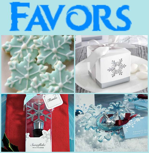 Clockwise from top left: snowflake cookies, white candy box, snowflake candle holder, and snowflake wine stopper