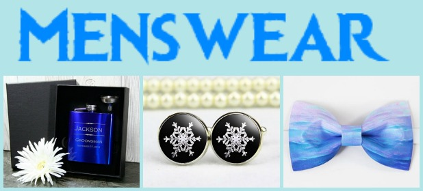 From Left: customized flasks, snowflake cufflinks, and blue bowties