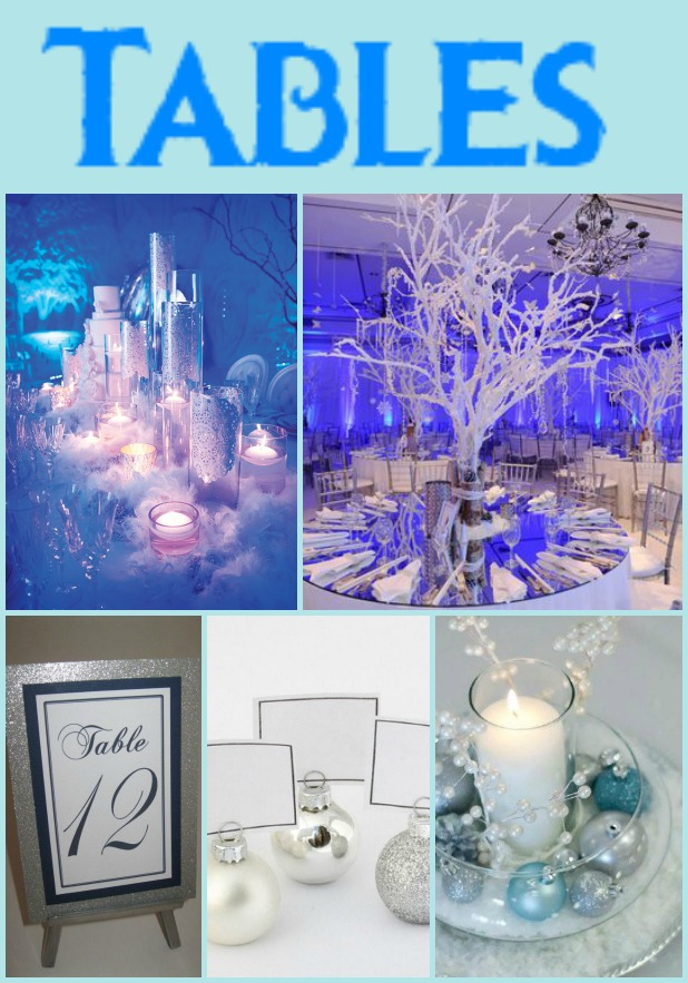 Top from left: large glassware centerpiece and snow tree centerpiece Bottom from left: glitter table numbers, ornament seating cards, and candle centerpiece