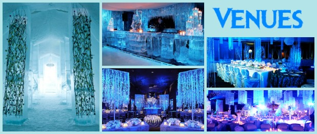 Clockwise From Left: ICEHOTEL Chapel, Ice Bar, UpLightsLa long table, winter wonderland with hanging crystals, and All About Venues rounds tables with square crystal lights