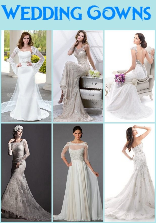 Top from left: JJ Sweetheart Watteau train dress, Maggie Sottero illusion sheath gown,  and Maggie Sottero sweetheart sheath gown in beaded embroidery Bottom from left: Maggie Sottero bateau mermaid gown, Tony Ward illusion sheath gown,  and Maggie Sottero Sweetheart a line gown
